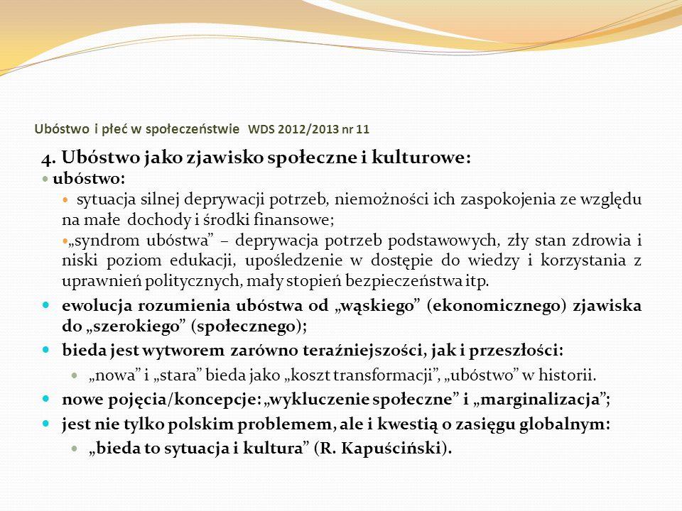 Ubóstwo i płeć w społeczeństwie WDS 2012/2013 nr 11 4. Ubóstwo jako zjawisko społeczne i kulturowe: ubóstwo: sytuacja silnej deprywacji potrzeb, niemo