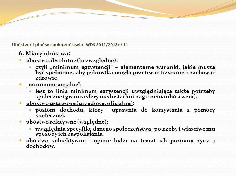 Ubóstwo i płeć w społeczeństwie WDS 2012/2013 nr 11 6. Miary ubóstwa: ubóstwo absolutne (bezwzględne): czyli minimum egzystencji – elementarne warunki
