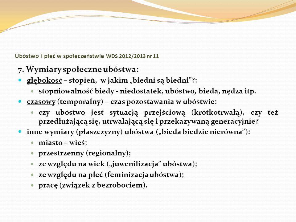Ubóstwo i płeć w społeczeństwie WDS 2012/2013 nr 11 7. Wymiary społeczne ubóstwa: głębokość – stopień, w jakim biedni są biedni?: stopniowalność biedy