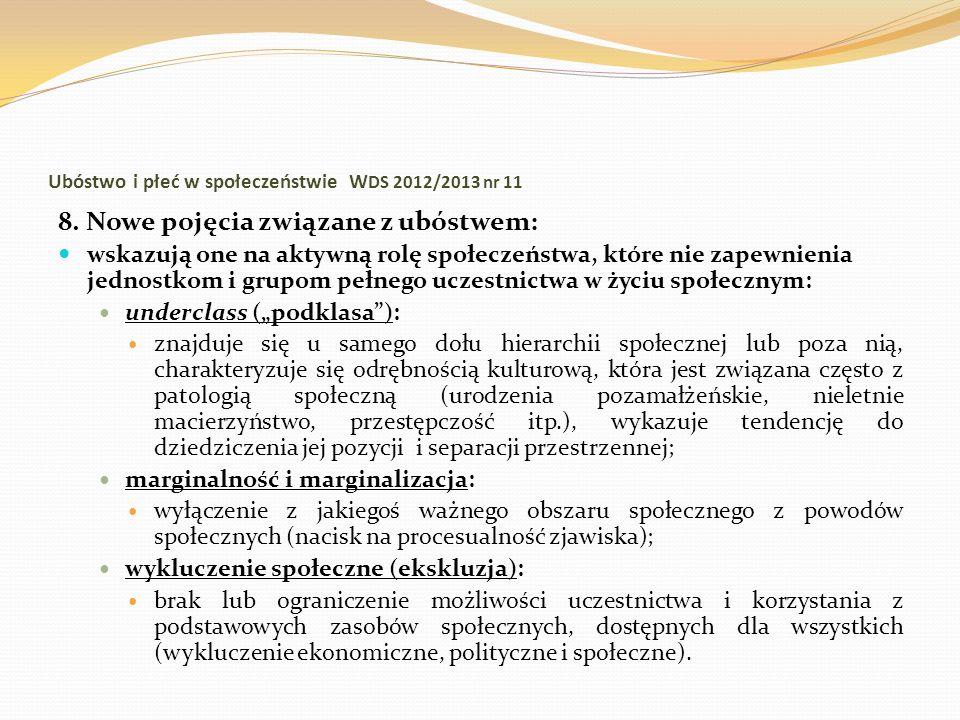 Ubóstwo i płeć w społeczeństwie W DS 2012/2013 nr 11 8. Nowe pojęcia związane z ubóstwem: wskazują one na aktywną rolę społeczeństwa, które nie zapewn