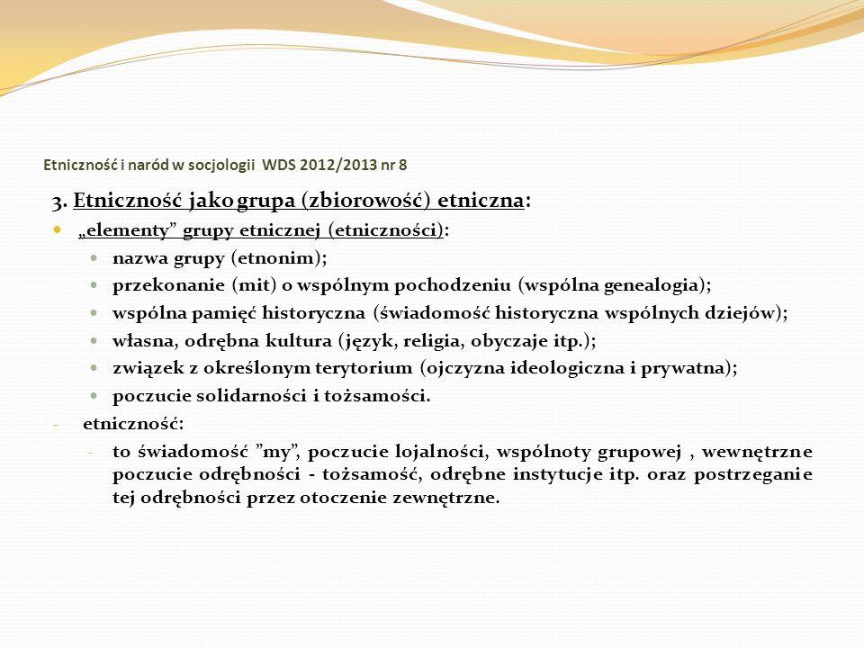 Etniczność i naród w socjologii WDS 2012/2013 nr 8 3. Etniczność jako grupa (zbiorowość) etniczna: elementy grupy etnicznej (etniczności): nazwa grupy
