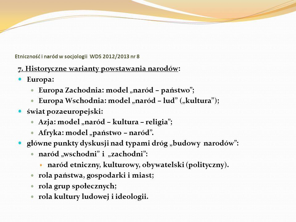 Etniczność i naród w socjologii WDS 2012/2013 nr 8 7. Historyczne warianty powstawania narodów: Europa: Europa Zachodnia: model naród – państwo; Europ
