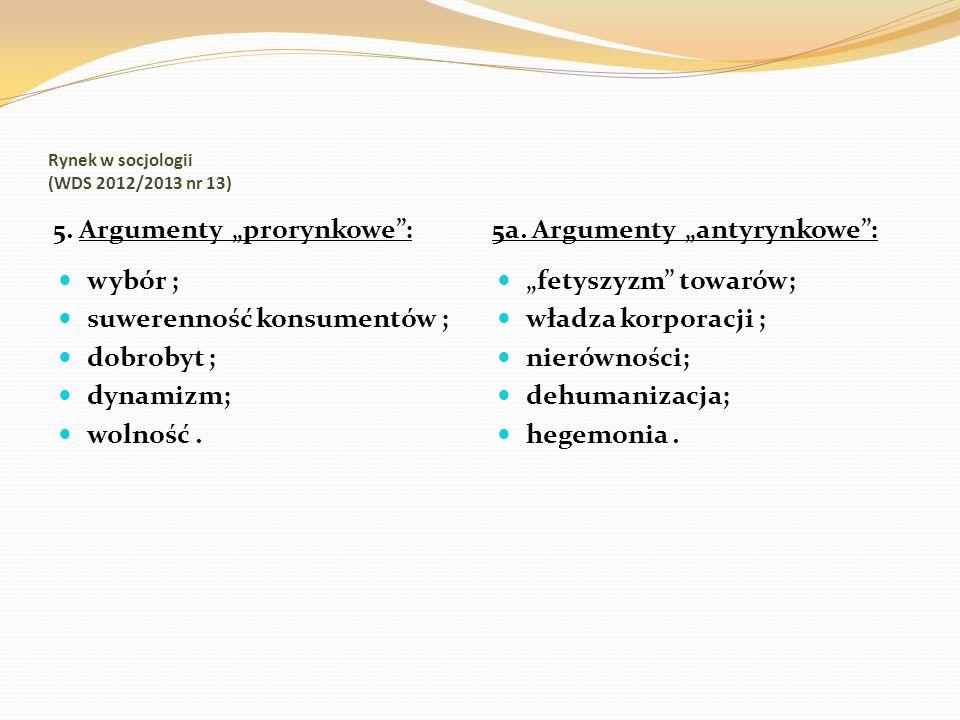 Rynek w socjologii (WDS 2012/2013 nr 13) 5. Argumenty prorynkowe: 5a. Argumenty antyrynkowe: wybór ; suwerenność konsumentów ; dobrobyt ; dynamizm; wo
