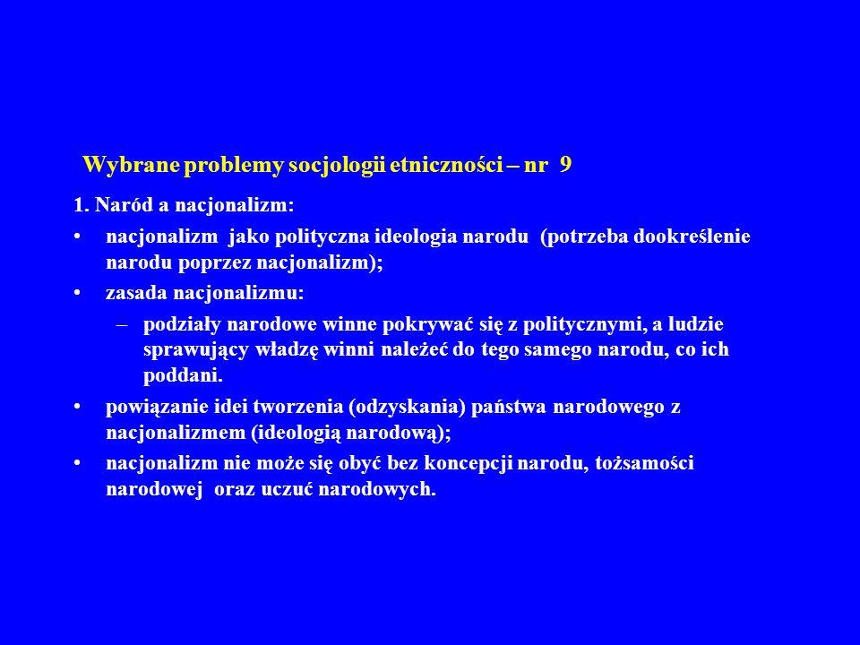 Wybrane problemy socjologii etniczności – nr 9 1. Naród a nacjonalizm: nacjonalizm jako polityczna ideologia narodu (potrzeba dookreślenie narodu popr