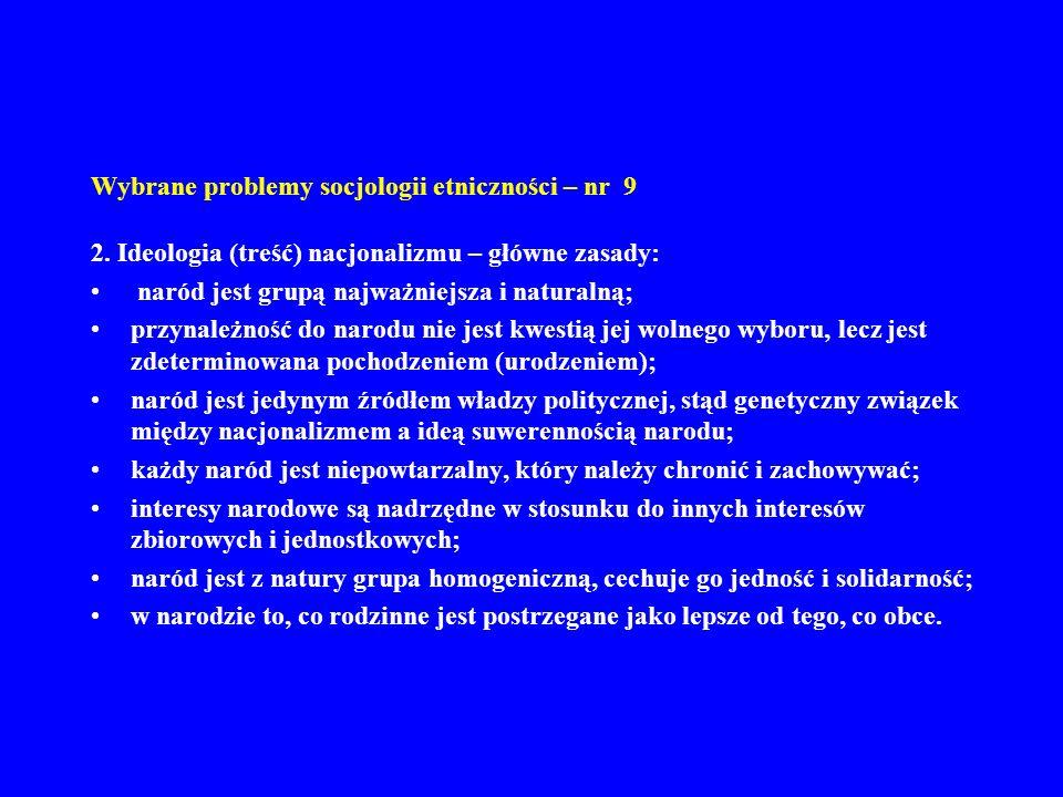 Wybrane problemy socjologii etniczności – nr 9 2. Ideologia (treść) nacjonalizmu – główne zasady: naród jest grupą najważniejsza i naturalną; przynale