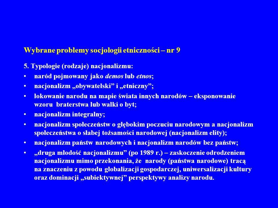 Wybrane problemy socjologii etniczności – nr 9 5. Typologie (rodzaje) nacjonalizmu: naród pojmowany jako demos lub etnos; nacjonalizm obywatelski i et