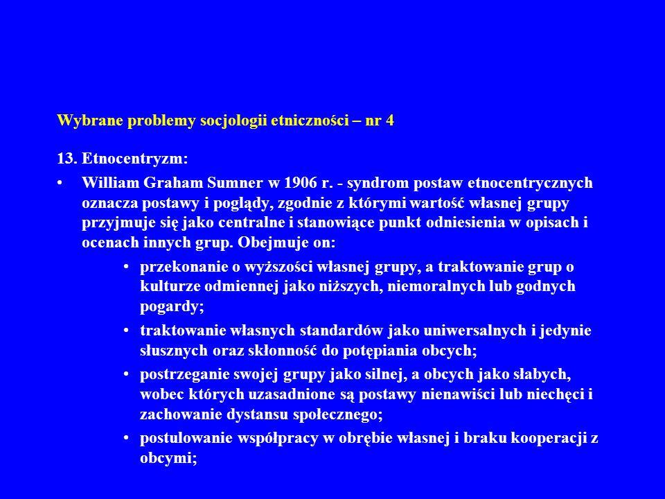 Wybrane problemy socjologii etniczności – nr 4 13.