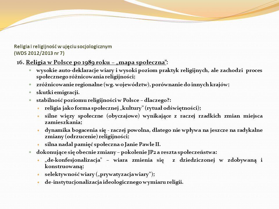 Religia i religijność w ujęciu socjologicznym (WDS 2012/2013 nr 7) 16. Religia w Polsce po 1989 roku – mapa społeczna: wysokie auto-deklaracje wiary i