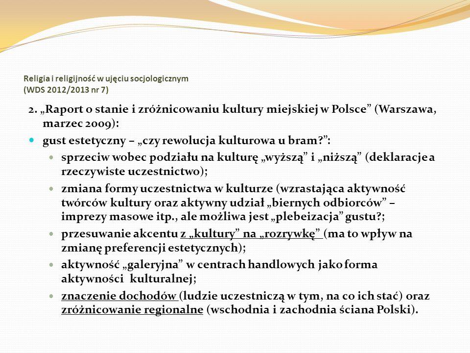 Religia i religijność w ujęciu socjologicznym (WDS 2012/2013 nr 7) 2. Raport o stanie i zróżnicowaniu kultury miejskiej w Polsce (Warszawa, marzec 200