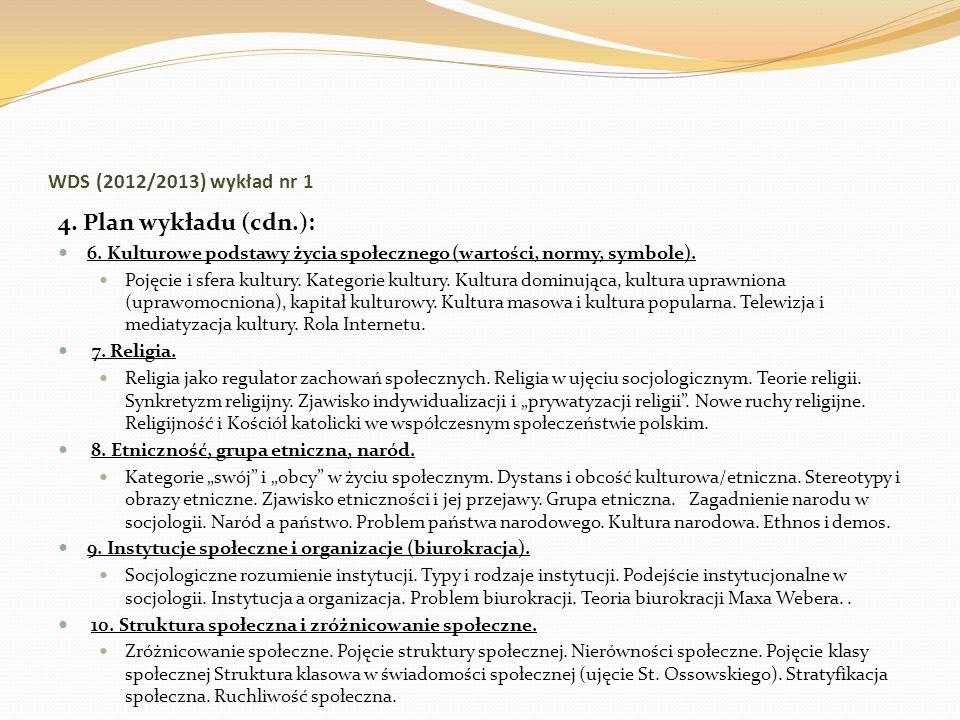 WDS (2012/2013) wykład nr 1 4. Plan wykładu (cdn.): 6. Kulturowe podstawy życia społecznego (wartości, normy, symbole). Pojęcie i sfera kultury. Kateg