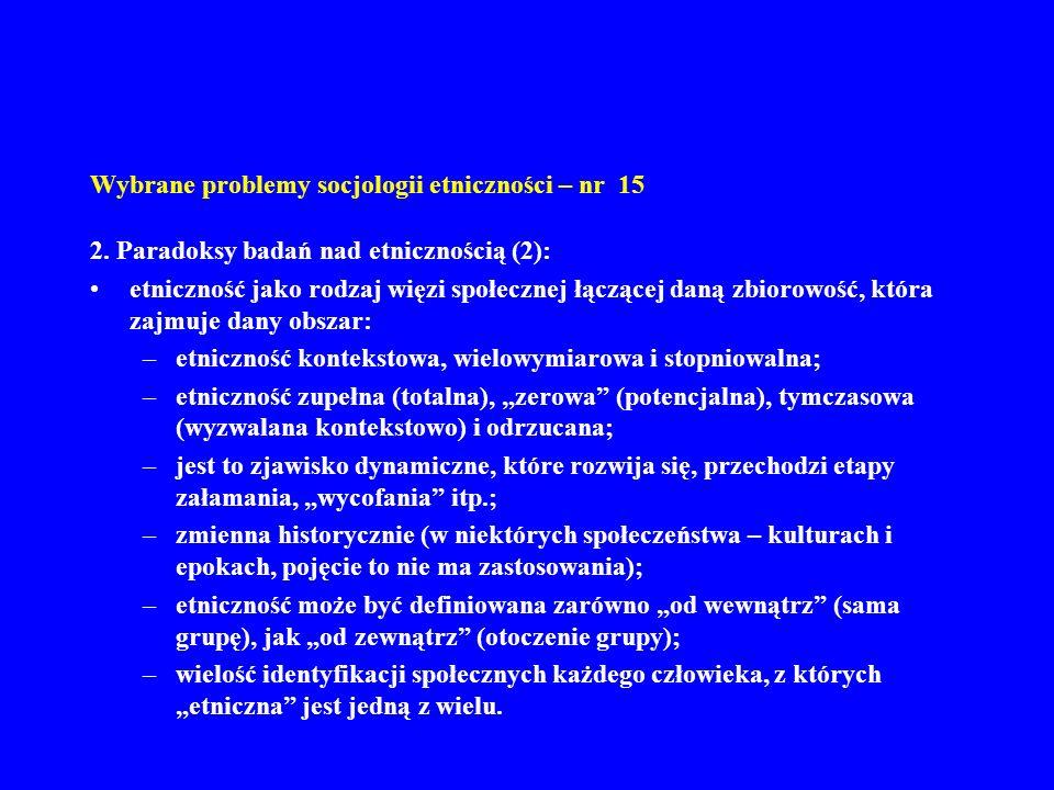 Wybrane problemy socjologii etniczności – nr 15 2.