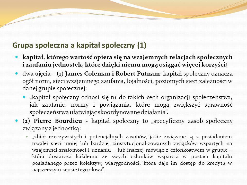 Grupa społeczna a kapitał społeczny (1) kapitał, którego wartość opiera się na wzajemnych relacjach społecznych i zaufaniu jednostek, które dzięki nie