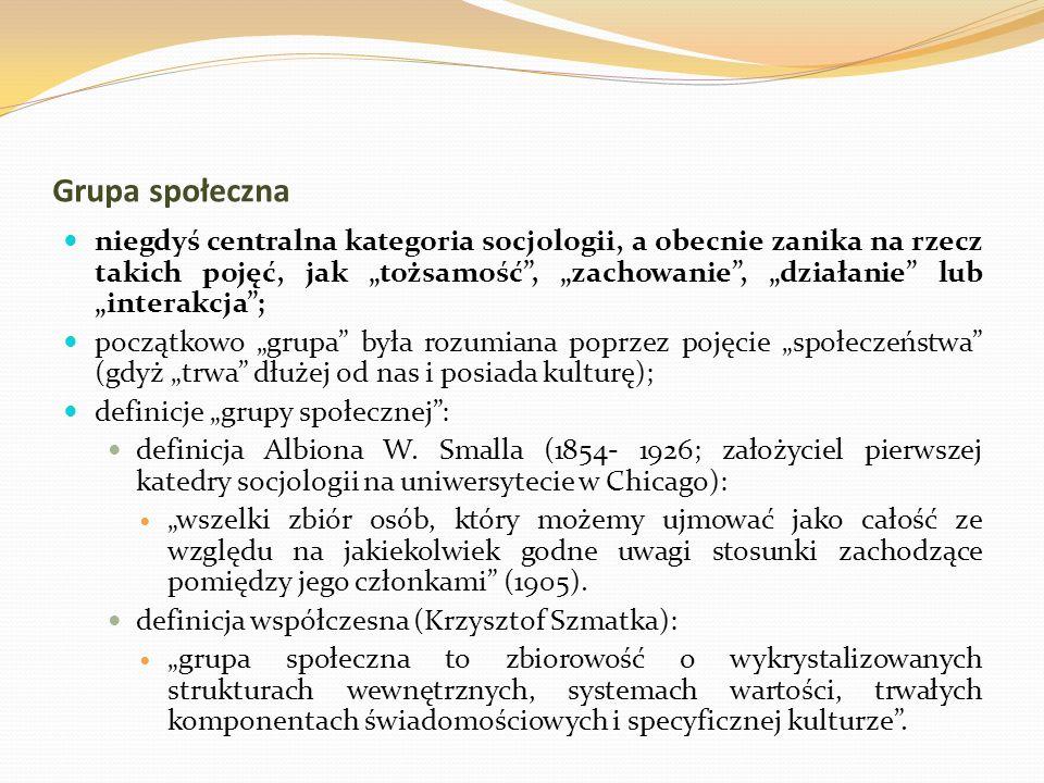 Grupa społeczna niegdyś centralna kategoria socjologii, a obecnie zanika na rzecz takich pojęć, jak tożsamość, zachowanie, działanie lub interakcja; p