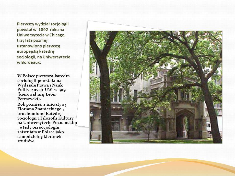 Pierwszy wydział socjologii powstał w 1892 roku na Uniwersytecie w Chicago, trzy lata później ustanowiono pierwszą europejską katedrę socjologii, na U