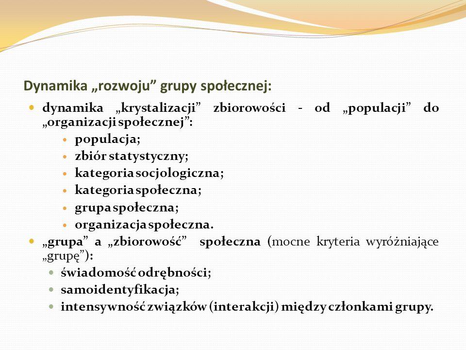 Dynamika rozwoju grupy społecznej: dynamika krystalizacji zbiorowości - od populacji do organizacji społecznej: populacja; zbiór statystyczny; kategor