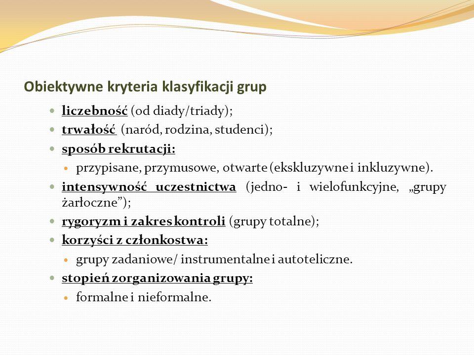 Obiektywne kryteria klasyfikacji grup liczebność (od diady/triady); trwałość (naród, rodzina, studenci); sposób rekrutacji: przypisane, przymusowe, ot