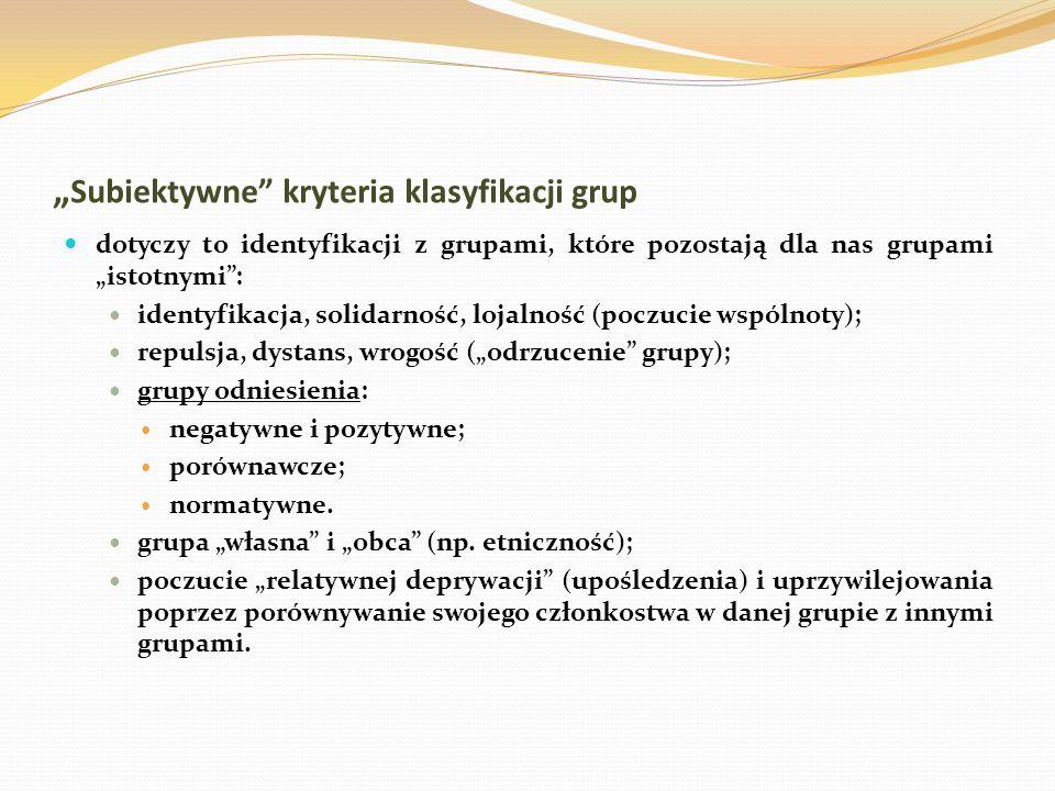 Subiektywne kryteria klasyfikacji grup dotyczy to identyfikacji z grupami, które pozostają dla nas grupami istotnymi: identyfikacja, solidarność, loja