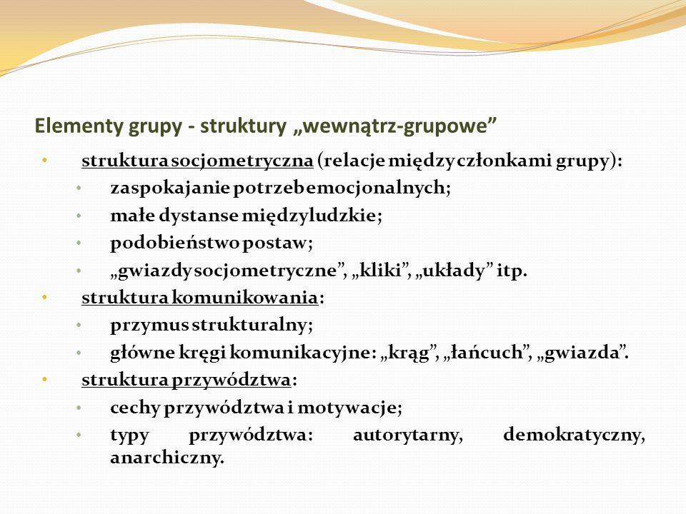Elementy grupy - struktury wewnątrz-grupowe struktura socjometryczna (relacje między członkami grupy): zaspokajanie potrzeb emocjonalnych; małe dystan