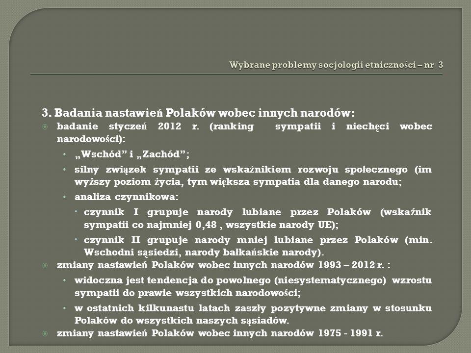 3. Badania nastawie ń Polaków wobec innych narodów: badanie stycze ń 2012 r. (ranking sympatii i niech ę ci wobec narodowo ś ci): Wschód i Zachód; sil