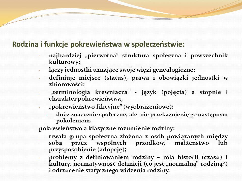 Rodzina i funkcje pokrewieństwa w społeczeństwie: - najbardziej pierwotna struktura społeczna i powszechnik kulturowy; - łączy jednostki uznające swoje więzi genealogiczne; - definiuje miejsce (status), prawa i obowiązki jednostki w zbiorowości; - terminologia krewniacza - język (pojęcia) a stopnie i charakter pokrewieństwa; - pokrewieństwo fikcyjne (wyobrażeniowe): - duże znaczenie społeczne, ale nie przekazuje się go następnym pokoleniom.