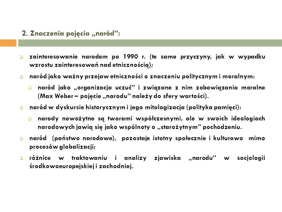 2.Znaczenia pojęcia naród: zainteresowanie narodem po 1990 r.