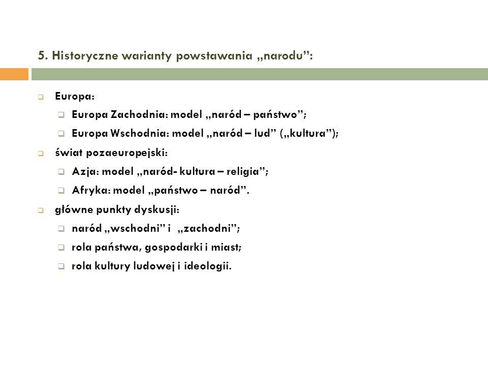 5. Historyczne warianty powstawania narodu: Europa: Europa Zachodnia: model naród – państwo; Europa Wschodnia: model naród – lud (kultura); świat poza