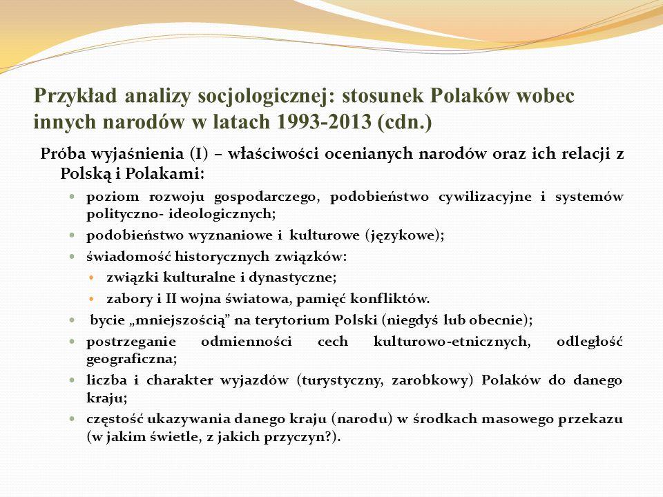 Przykład analizy socjologicznej: stosunek Polaków wobec innych narodów w latach 1993-2013 (cdn.) Próba wyjaśnienia (I) – właściwości ocenianych narodó