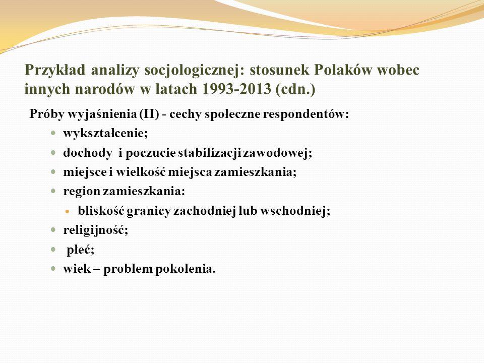 Przykład analizy socjologicznej: stosunek Polaków wobec innych narodów w latach 1993-2013 (cdn.) Próby wyjaśnienia (II) - cechy społeczne respondentów