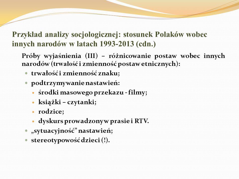Przykład analizy socjologicznej: stosunek Polaków wobec innych narodów w latach 1993-2013 (cdn.) Próby wyjaśnienia (III) – różnicowanie postaw wobec i
