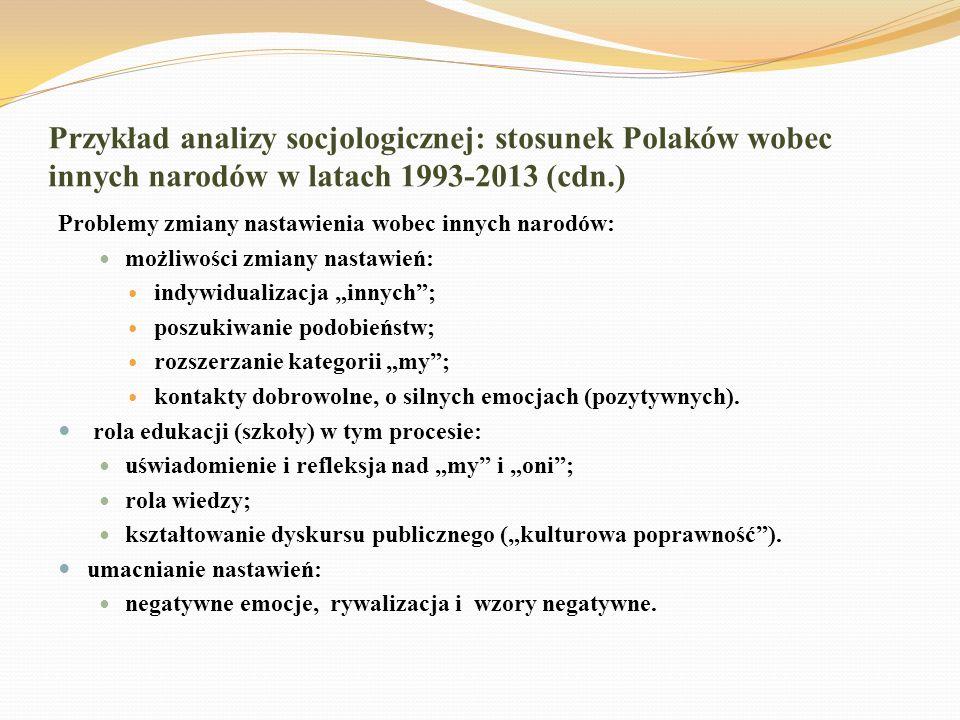 Przykład analizy socjologicznej: stosunek Polaków wobec innych narodów w latach 1993-2013 (cdn.) Problemy zmiany nastawienia wobec innych narodów: moż
