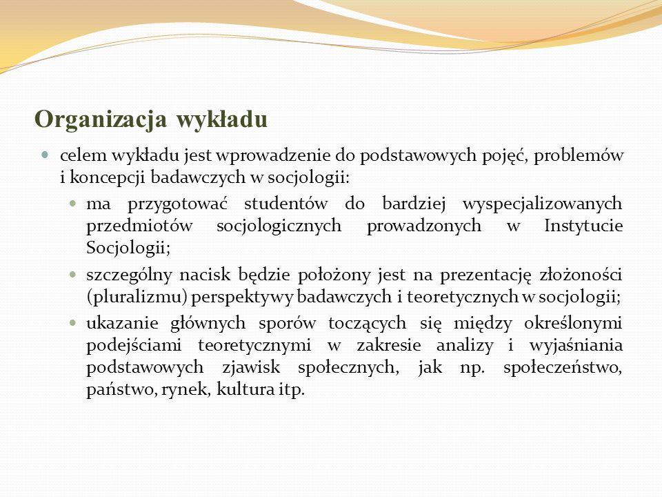 Warunki zaliczenia podręcznik: Barbara Szacka, Wprowadzenie do socjologii, Oficyna Naukowa, Warszawa 2003 (lub nowsze wydania) następujące rozdziały: I –III (s.