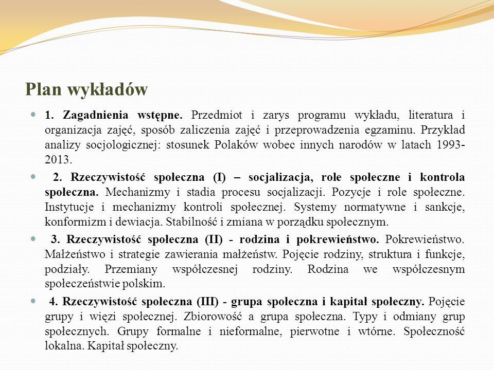 Plan wykładów 1. Zagadnienia wstępne. Przedmiot i zarys programu wykładu, literatura i organizacja zajęć, sposób zaliczenia zajęć i przeprowadzenia eg