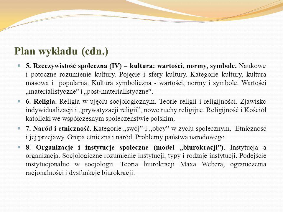 Plan wykładu (cdn.) 5. Rzeczywistość społeczna (IV) – kultura: wartości, normy, symbole. Naukowe i potoczne rozumienie kultury. Pojęcie i sfery kultur