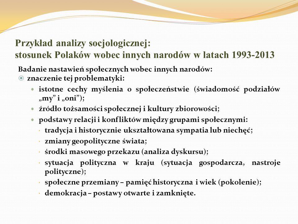 Przykład analizy socjologicznej: stosunek Polaków wobec innych narodów w latach 1993-2013 Badanie nastawień społecznych wobec innych narodów: znaczeni