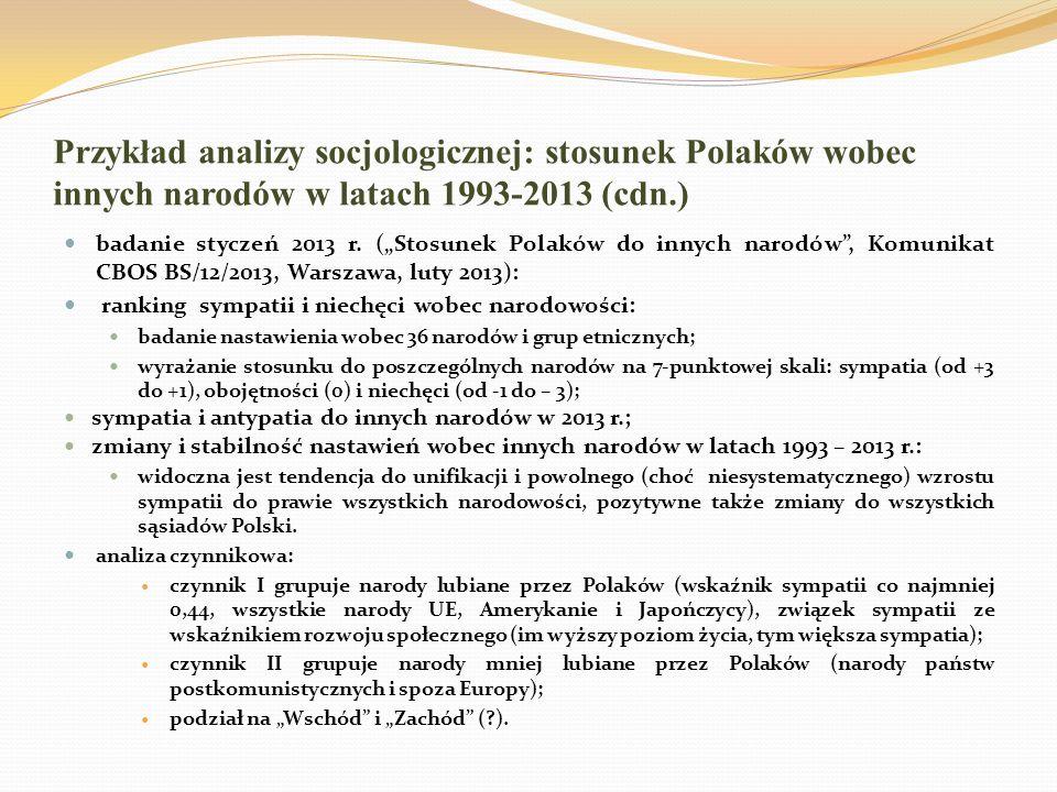 Przykład analizy socjologicznej: stosunek Polaków wobec innych narodów w latach 1993-2013 (cdn.) Próba wyjaśnienia (I) – właściwości ocenianych narodów oraz ich relacji z Polską i Polakami: poziom rozwoju gospodarczego, podobieństwo cywilizacyjne i systemów polityczno- ideologicznych; podobieństwo wyznaniowe i kulturowe (językowe); świadomość historycznych związków: związki kulturalne i dynastyczne; zabory i II wojna światowa, pamięć konfliktów.