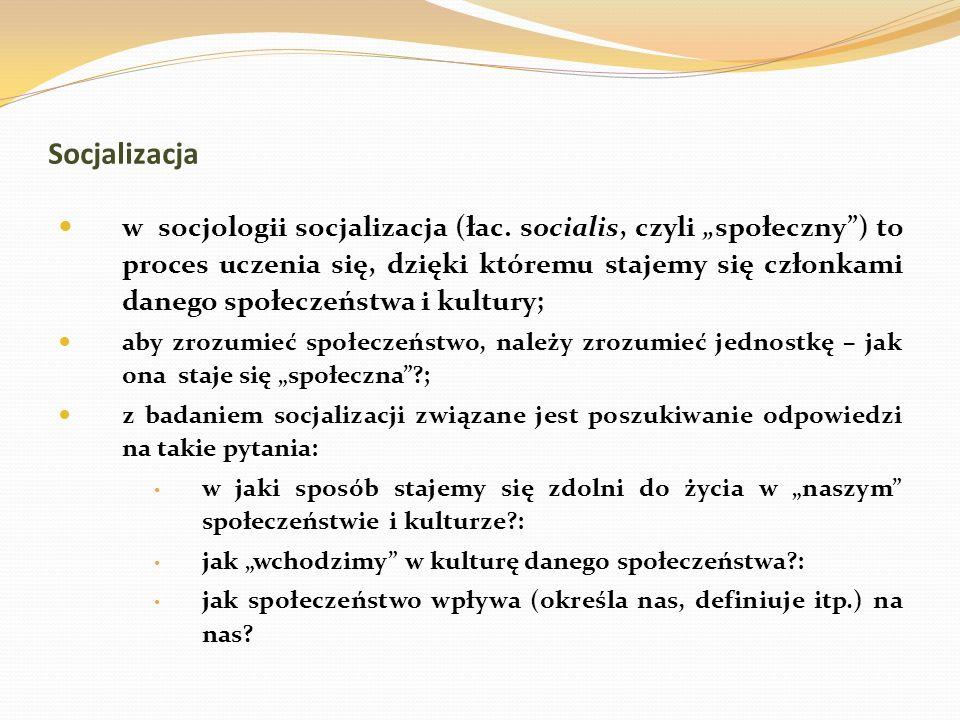 Socjalizacja w socjologii socjalizacja (łac. socialis, czyli społeczny) to proces uczenia się, dzięki któremu stajemy się członkami danego społeczeńst