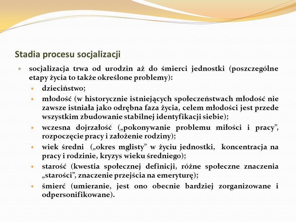 Stadia procesu socjalizacji socjalizacja trwa od urodzin aż do śmierci jednostki (poszczególne etapy życia to także określone problemy): dzieciństwo;