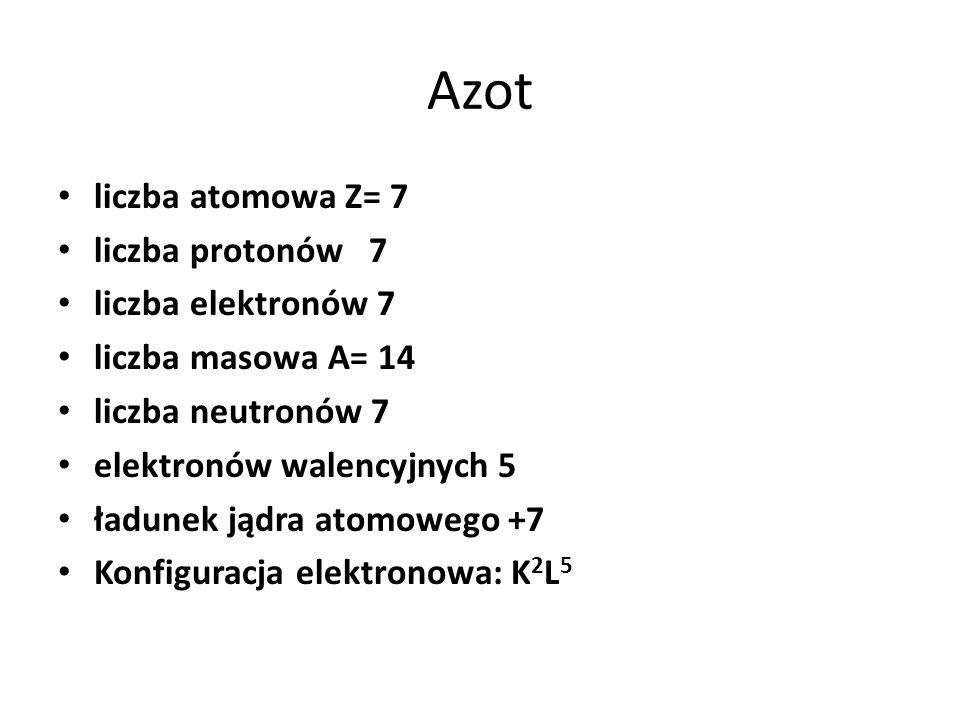 Azot liczba atomowa Z= 7 liczba protonów 7 liczba elektronów 7 liczba masowa A= 14 liczba neutronów 7 elektronów walencyjnych 5 ładunek jądra atomoweg