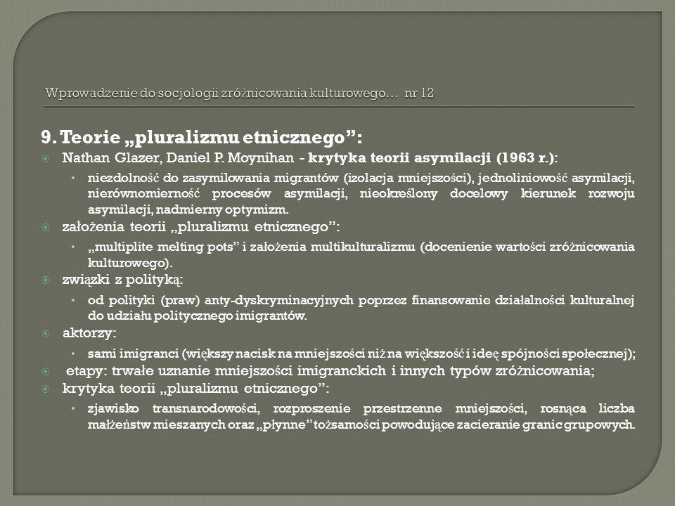 9. Teorie pluralizmu etnicznego: Nathan Glazer, Daniel P. Moynihan - krytyka teorii asymilacji (1963 r.): niezdolno ść do zasymilowania migrantów (izo