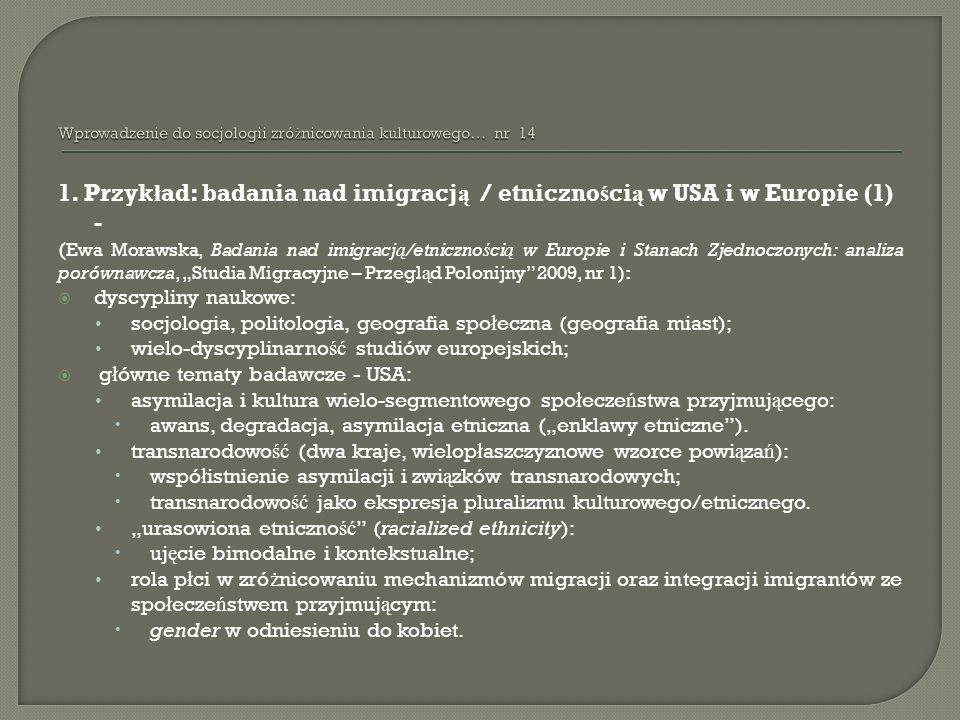 1. Przyk ł ad: badania nad imigracj ą / etniczno ś ci ą w USA i w Europie (1) - ( Ewa Morawska, Badania nad imigracj ą /etniczno ś ci ą w Europie i St