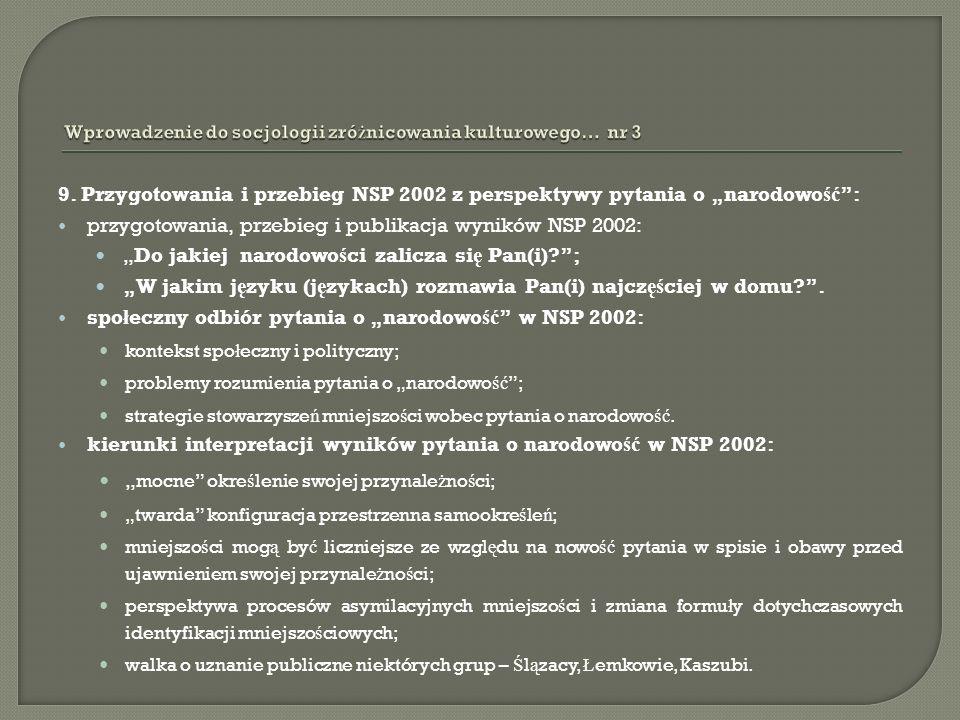 9. Przygotowania i przebieg NSP 2002 z perspektywy pytania o narodowo ść : przygotowania, przebieg i publikacja wyników NSP 2002: Do jakiej narodowo ś