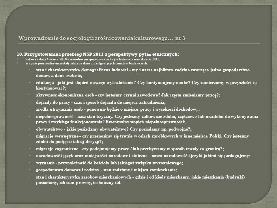 10. Przygotowania i przebieg NSP 2011 z perspektywy pyta ń etnicznych: ustawa z dnia 4 marca 2010 o narodowym spisie powszechnym ludności i mieszkań w