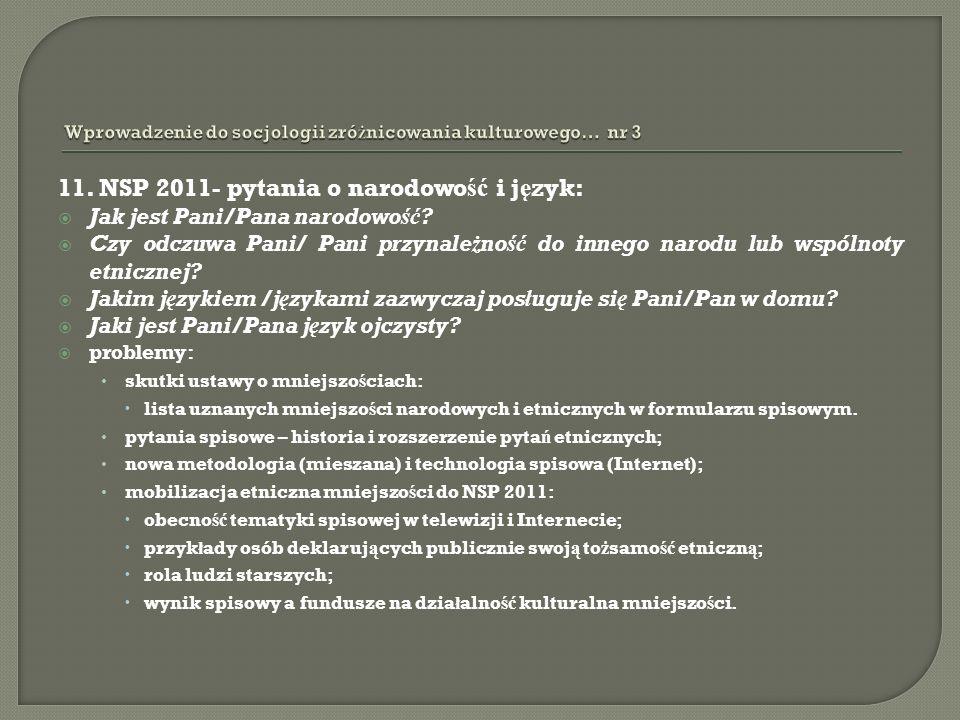 11. NSP 2011- pytania o narodowo ść i j ę zyk: Jak jest Pani/Pana narodowość? Czy odczuwa Pani/ Pani przynależność do innego narodu lub wspólnoty etni