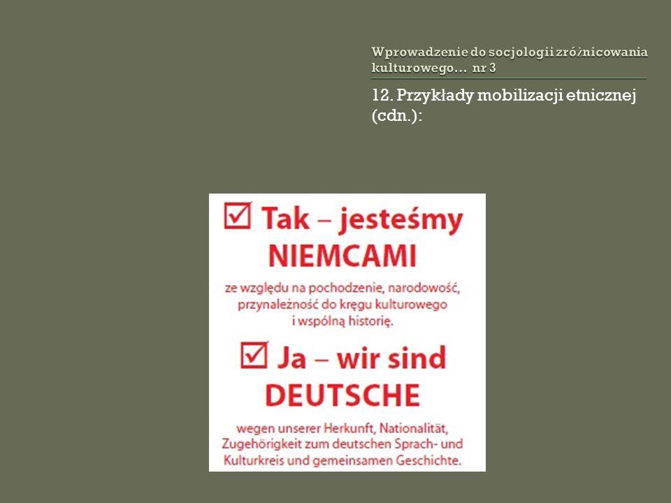 12. Przyk ł ady mobilizacji etnicznej (cdn.):