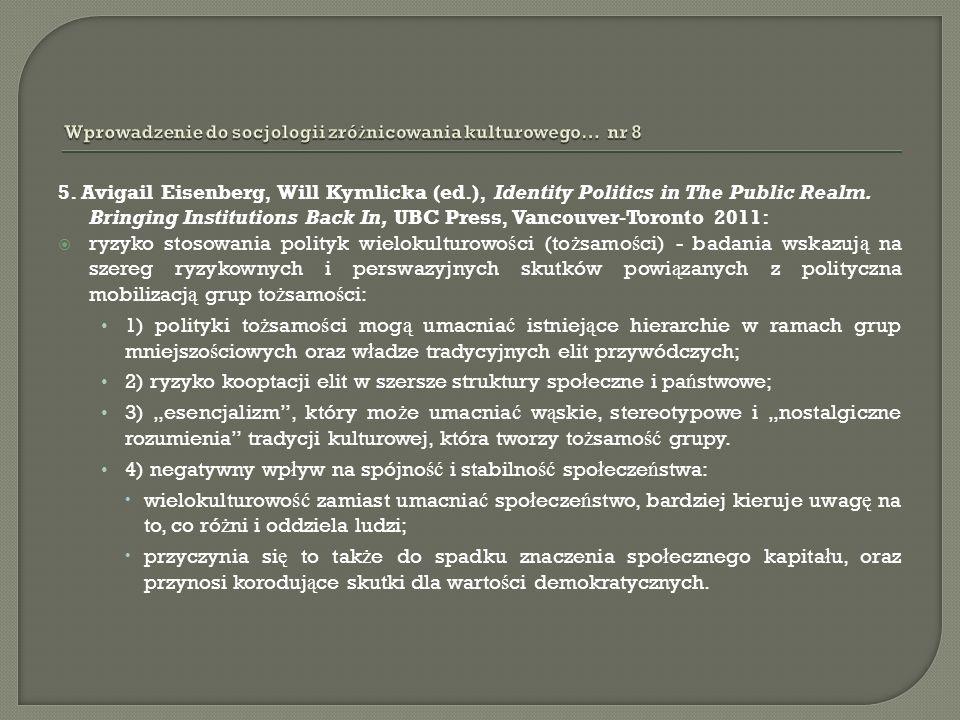 5. Avigail Eisenberg, Will Kymlicka (ed.), Identity Politics in The Public Realm.