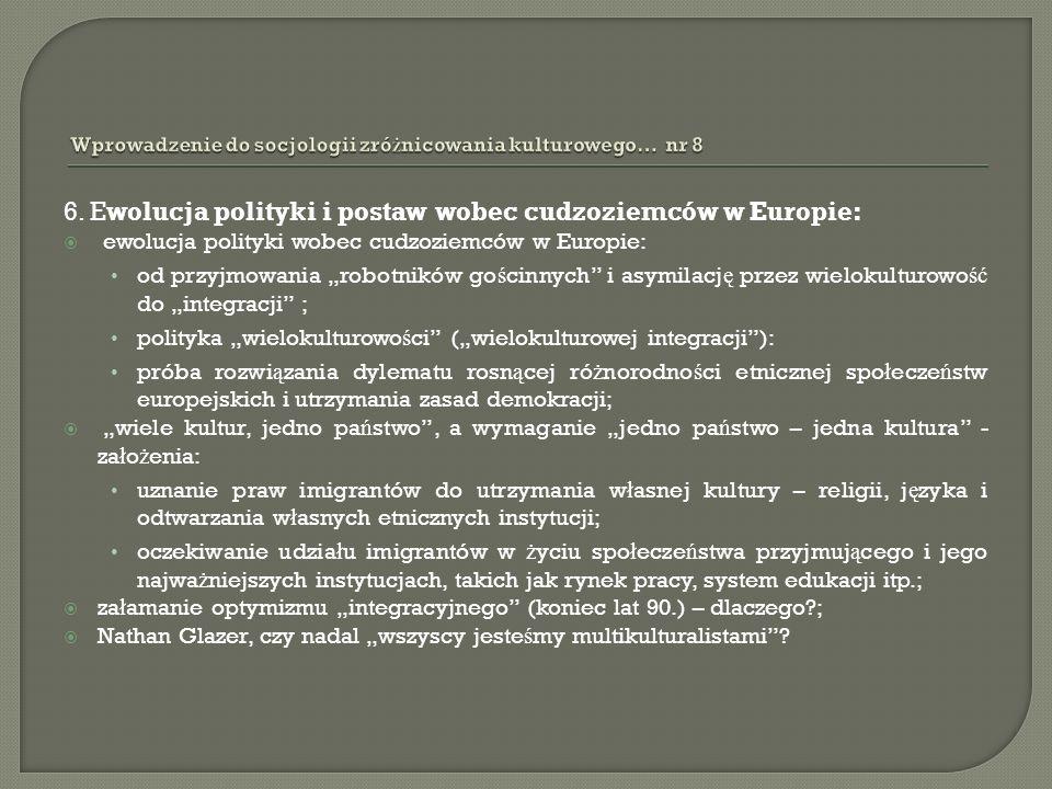 6. Ewolucja polityki i postaw wobec cudzoziemców w Europie: ewolucja polityki wobec cudzoziemców w Europie: od przyjmowania robotników go ś cinnych i