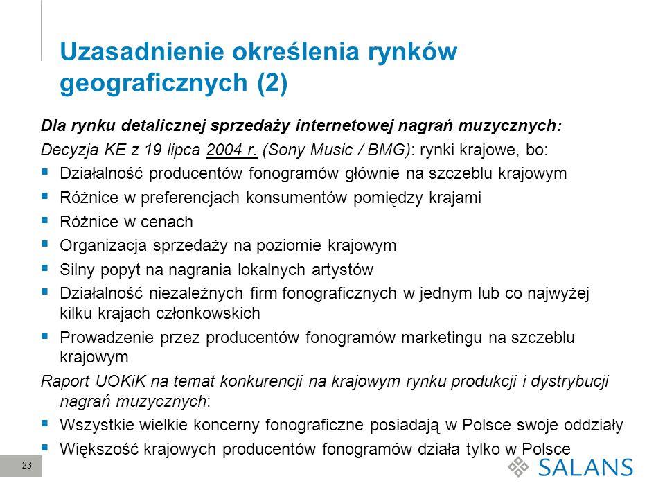 23 Uzasadnienie określenia rynków geograficznych (2) Dla rynku detalicznej sprzedaży internetowej nagrań muzycznych: Decyzja KE z 19 lipca 2004 r. (So