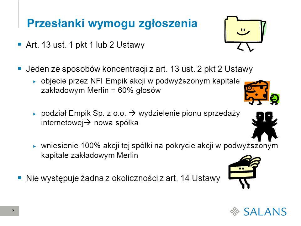 24 Ocena skutków koncentracji przez UOKiK (1) Rynek detalicznej internetowej sprzedaży książek niespecjalistycznych Łączny udział uczestników koncentracji w 2009 r.