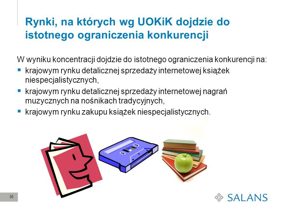 30 Rynki, na których wg UOKiK dojdzie do istotnego ograniczenia konkurencji W wyniku koncentracji dojdzie do istotnego ograniczenia konkurencji na: kr