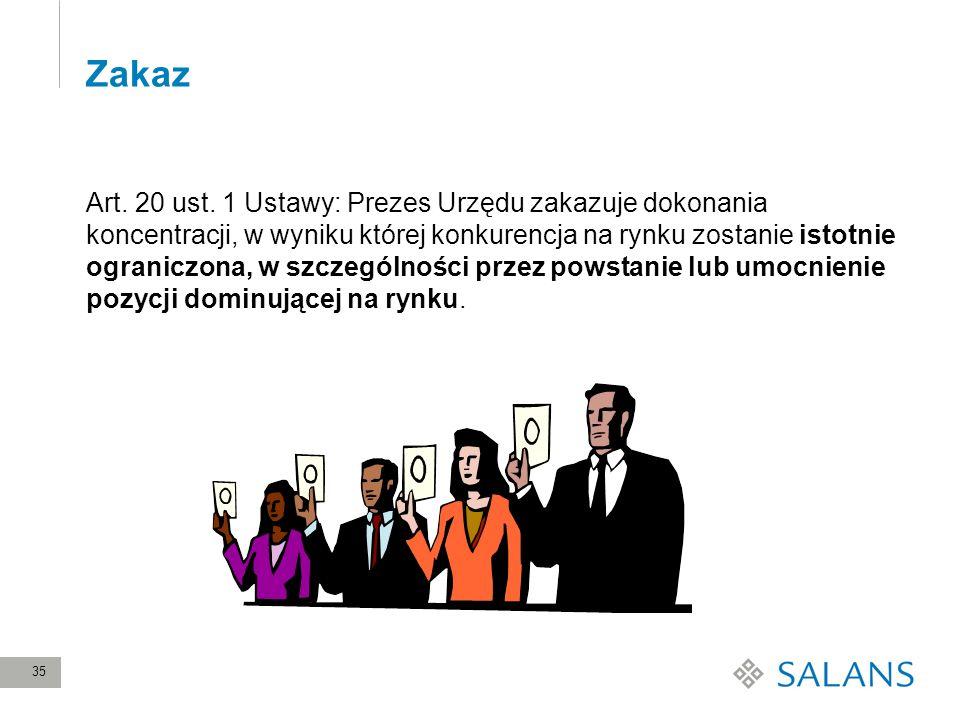 35 Zakaz Art. 20 ust. 1 Ustawy: Prezes Urzędu zakazuje dokonania koncentracji, w wyniku której konkurencja na rynku zostanie istotnie ograniczona, w s